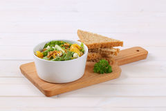 Chinese cabbage salad with toast bread Royalty Free Stock Photography
