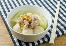Chinese Cabbage Soup with Minced Pork and Meat Ball Royalty Free Stock Images