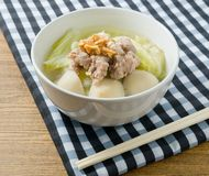 Chinese Cabbage Soup with Minced Pork and Meat Ball Stock Image