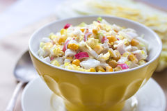 Chinese cabbage, sweet corn and surimi salad Stock Photos