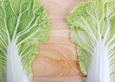 Chinese cabbage on wooden chopping board Stock Photography