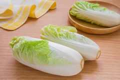 Chinese cabbage on wooden table Stock Photography