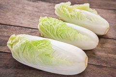 Chinese cabbage on wooden table Royalty Free Stock Photography