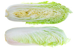 Chinese Cabbages. Cross Section. Isolated On White Stock Photography