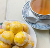 Chinese Cake and hot tea. Selective focus point Royalty Free Stock Image