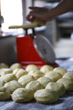 Chinese cake and steam bun dough. Preparation for making Chinese cake and steam bun,  dough with a scale in the background Royalty Free Stock Photography