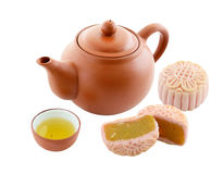 Chinese cake with Tea. Isolate on white Royalty Free Stock Photography
