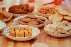 Chinese cakes en gebakjes voor huwelijksdag royalty-vrije stock afbeelding
