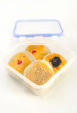 Chinese cakes in take away box, asian style pastry. Stock Image