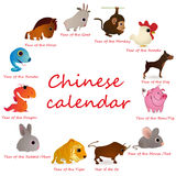 Chinese calendar with 12 animals. Chinese calendar with twelve animals royalty free illustration