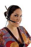 Chinese call center female talking on microphone Royalty Free Stock Photo