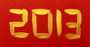 Chinese Calligraphy 2013. Brushstroke on red background Royalty Free Stock Photos
