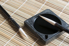 Chinese calligraphy. Chinese writing instruments of chinese calligraphy stock images