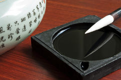 Chinese calligraphy. Chinese writing instruments of chinese calligraphy royalty free stock photo