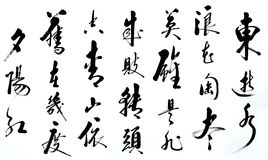 Chinese calligraphy art. Chinese character handwriting, a kind of traditional art and national culture style Stock Image