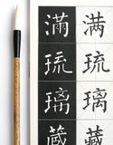 Chinese calligraphy art materials. An image of a chinese calligraphic brush beside a book for learning about calligraphy. Open page of book shows standard way of royalty free stock photography