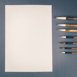 Chinese calligraphy brush for traditional writing. Square Stock Image
