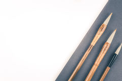 Chinese calligraphy brush for traditional writing. Top view Stock Photo