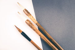 Chinese calligraphy brush for traditional writing. Top view Stock Images