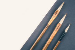 Chinese calligraphy brush for traditional writing. Top view Stock Image