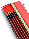 Chinese calligraphy brushes. A set of traditional chinese calligraphic brushes of different sizes, kept in a box.  Calligraphic brushes are traditionally crafted Stock Image