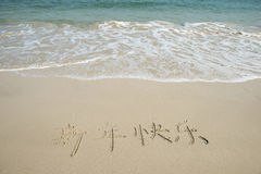 Chinese Calligraphy for happy new year written in sand Royalty Free Stock Photos