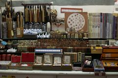 Chinese calligraphy market stall of Kuala Lumpur`s Central Market stock photo