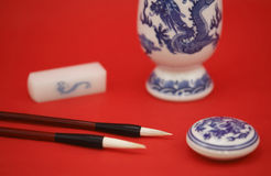 Chinese calligraphy and painting with stationery Stock Photo