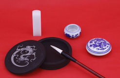 Chinese calligraphy and painting with stationery Stock Photos