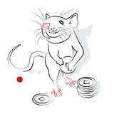Chinese Calligraphy Rat 2020. Chinese new year 2020 of the Rat (Rat year). Greeting or invitation card for the holiday. Vector illustration Stock Photos