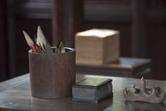 Chinese calligraphy set Stock Photography