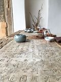Chinese calligraphy table Stock Photo