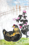 Chinese calligraphy water colour ink painting of a chicken. Hen next to a flowering plant stock illustration