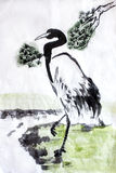 Chinese calligraphy water painting crane Royalty Free Stock Photo