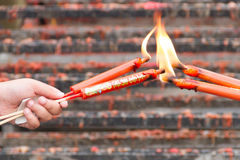 Chinese candles In Chinese Shrine Stock Photo