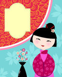 Chinese card. Chinese girl on colorful background with space for text Royalty Free Stock Images