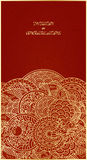 Chinese card. Vertical card template - gold ornament on red Stock Images