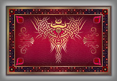 Chinese carpet with vintage Celtic gold pattern over red Stock Photo
