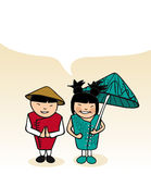 Chinese cartoon couple bubble dialogue Stock Photo