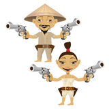 Chinese cartoon man and woman with guns Stock Photos