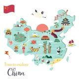 Chinese cartoon map with destinations, symbols. Chinese cartoon vector map with famous destinations, animals, landmarks, symbols, elements royalty free illustration