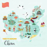 Chinese cartoon map with destinations, symbols. Chinese cartoon vector map with famous destinations, animals, landmarks, symbols, elements stock illustration