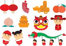 Chinese cartoon. Chinese new year icon and cartoon Royalty Free Stock Photography
