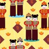 Chinese Celebration New Year Seamless Pattern. Illustration of Chinese boy and girl celebrating new year seamless pattern. --- This .eps file info Version royalty free illustration