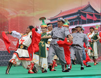 Chinese celebration of World War Two. Actors dressed as a Chinese Red army soldiers, Tibetans and Mongols during a celebration of the 70 year anniversary of the Royalty Free Stock Photos