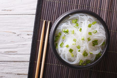 Chinese cellophane noodles in a bowl. horizontal top view Stock Photos
