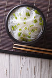Chinese cellophane noodles in a bowl. Vertical top view Royalty Free Stock Photos