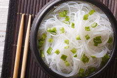 Chinese cellophane noodles close up in a bowl. horizontal top vi Stock Image
