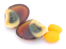 Chinese century egg. With two salad tomato Stock Images