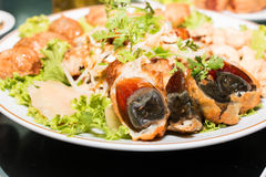 Chinese century eggs in the plate Royalty Free Stock Photography